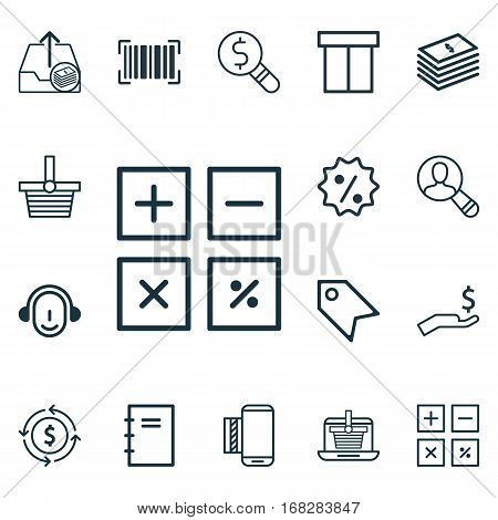 Set Of 16 E-Commerce Icons. Includes Rebate Sign, Mobile Service, Identification Code And Other Symbols. Beautiful Design Elements.