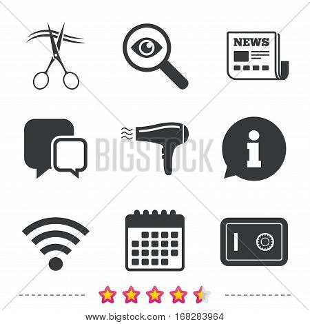 Hotel services icons. Wi-fi, Hairdryer and deposit lock in room signs. Wireless Network. Hairdresser or barbershop symbol. Newspaper, information and calendar icons. Investigate magnifier, chat symbol