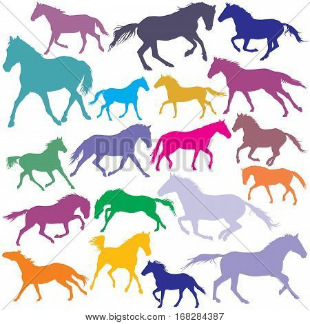 Vector colorful trotting and galloping horses silhouettes