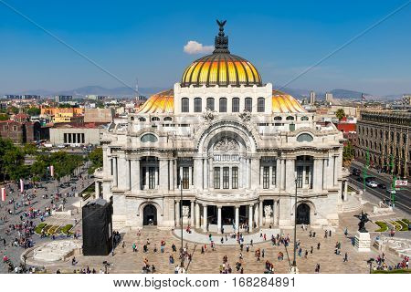 Palacio de Bellas Artes or Palace of Fine Arts at the historic center of Mexico City