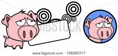 cute Little pig big head expression copyspace in vector format very easy to edit