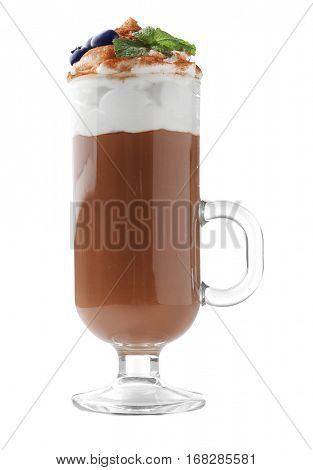Chocolate mousse with mint in portion glass on white background