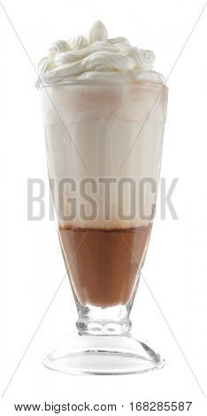 Chocolate mousse in portion glass on white background