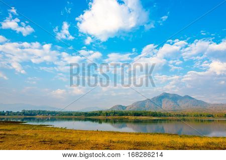 Sky With Beautiful Cloud Above Mountain And Lake