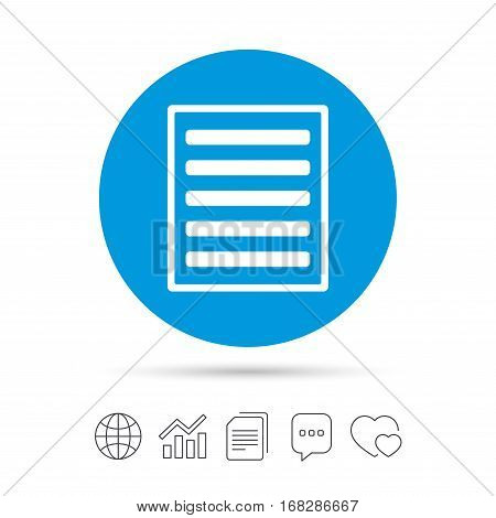 List sign icon. Content view option symbol. Copy files, chat speech bubble and chart web icons. Vector