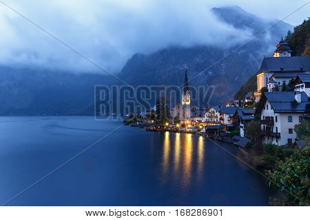 Little Famous Hallstatt Village In Alps At Dusk In Austria