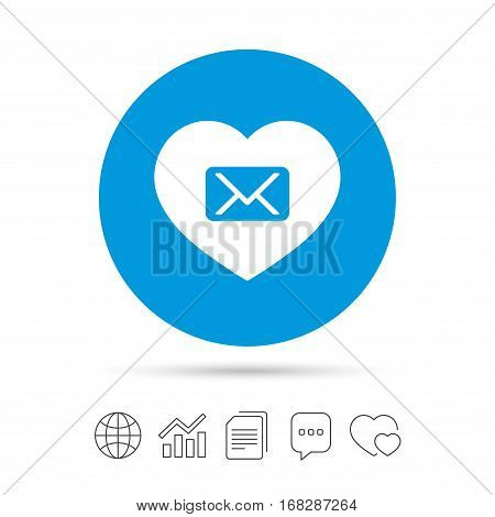 Love Mail icon. Envelope symbol. Message sign. Mail navigation button. Copy files, chat speech bubble and chart web icons. Vector