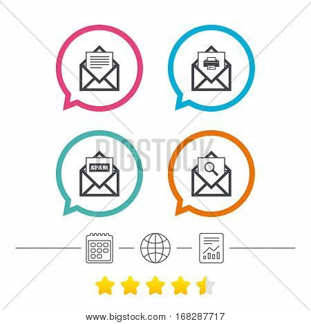 Mail envelope icons. Print message document symbol. Post office letter signs. Spam mails and search message icons. Calendar, internet globe and report linear icons. Star vote ranking. Vector