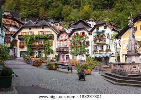 Historic Town Square Of Hallstatt