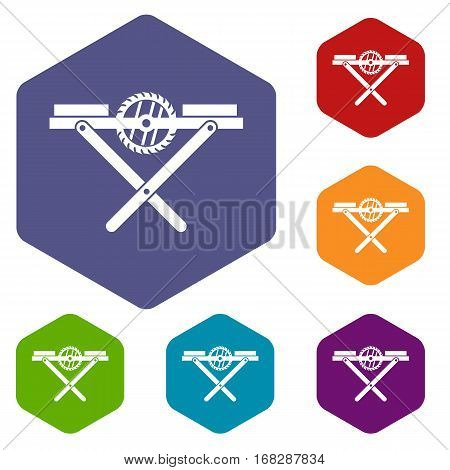 Power saw bench icons set rhombus in different colors isolated on white background