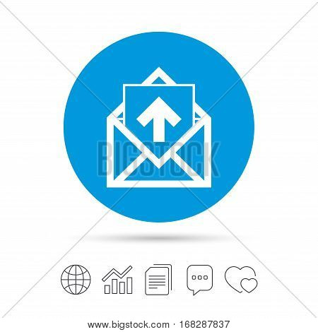 Mail icon. Envelope symbol. Outgoing message sign. Mail navigation button. Copy files, chat speech bubble and chart web icons. Vector