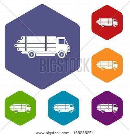 Log truck with the pile of logs icons set rhombus in different colors isolated on white background