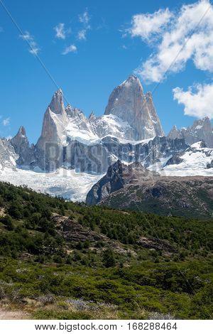 fitz roy mountain in argentina in summer