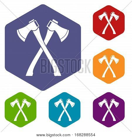 Two crossed axes icons set rhombus in different colors isolated on white background