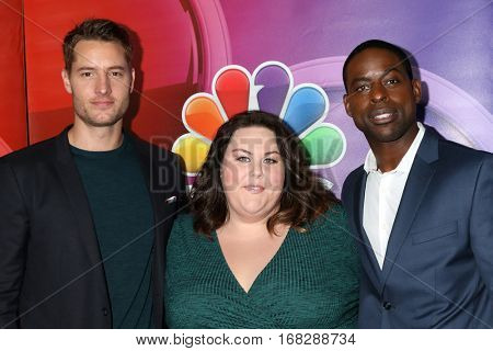 LOS ANGELES - JAN 18:  Justin Hartley, Chrissy Metz, Sterling K Brown at the NBC/Universal TCA Winter 2017 at Langham Hotel on January 18, 2017 in Pasadena, CA