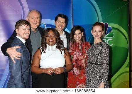 LOS ANGELES -JAN 18:  Steven Boyer, John Lithgow, Sherri Shepherd, Nick D'Agosto, Krysta Rodriguez, Jayma Mays at the NBC/Universal TCA Winter 2017 at Langham Hotel on January 18, 2017 in Pasadena, CA