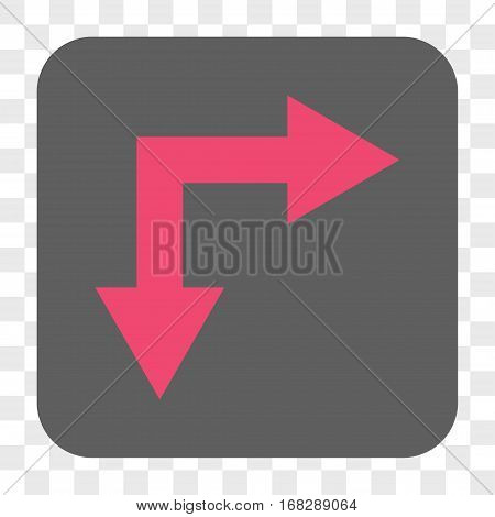 Bifurcation Arrow Right Down interface toolbar button. Vector icon style is a flat symbol inside a rounded square button pink and gray colors chess transparent background.