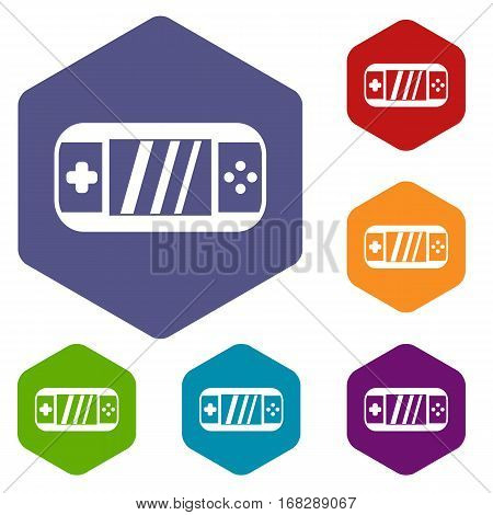 Portable video game console icons set rhombus in different colors isolated on white background