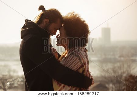 Romantic Embracing Loving Couple. Falling In Love