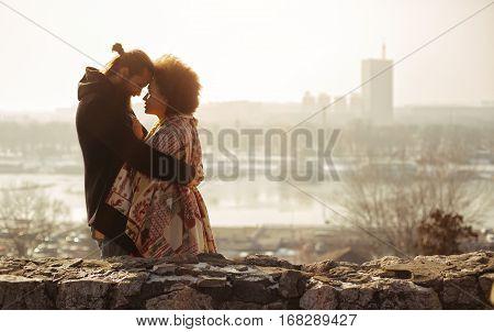 Romantic Embracing Loving Couple. Falling In Love