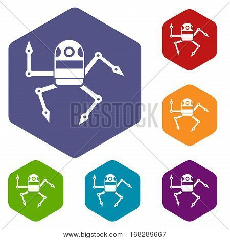 Spider robot icons set rhombus in different colors isolated on white background