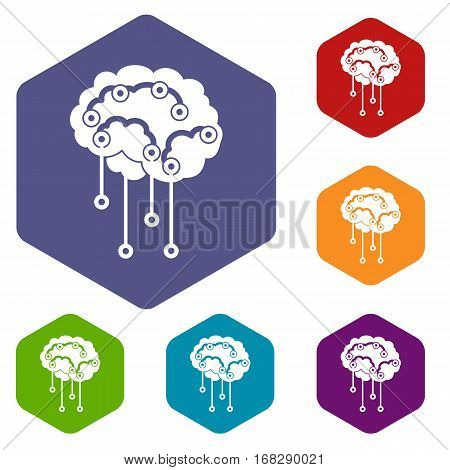 Sensors on human brain icons set rhombus in different colors isolated on white background