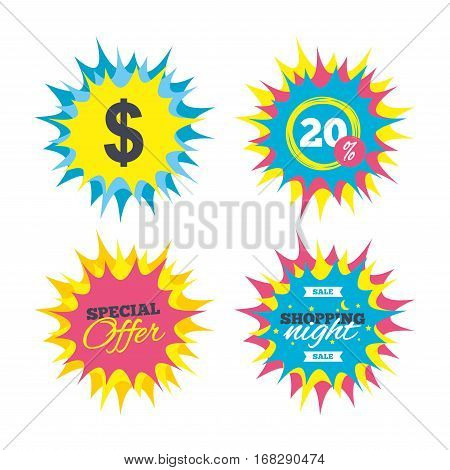 Shopping offers, special offer banners. Dollars sign icon. USD currency symbol. Money label. Discount star label. Vector