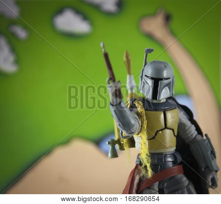 A custom painted 'Star Wars Holiday Special' Boba Fett who made his first appearance as a cartoon in the made for TV movie in 1978 - Hasbro Star Wars Black Series action figure