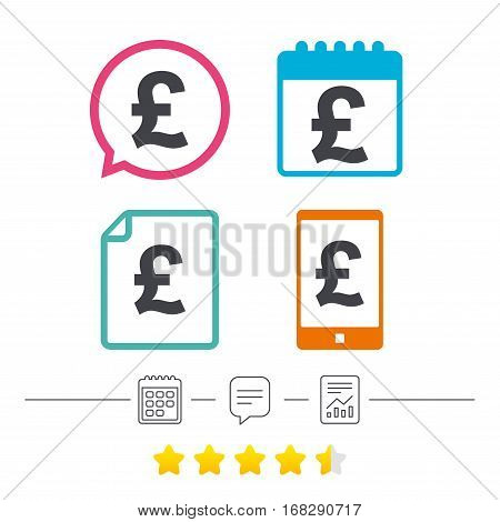 Pound sign icon. GBP currency symbol. Money label. Calendar, chat speech bubble and report linear icons. Star vote ranking. Vector