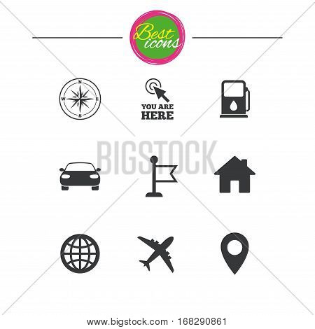 Navigation, gps icons. Windrose, compass and map pointer signs. Car, airplane and flag symbols. Classic simple flat icons. Vector