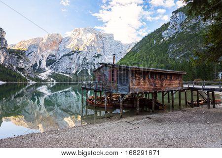 Braies Lake ( Pragser Wildsee ) In Dolomites Mountains