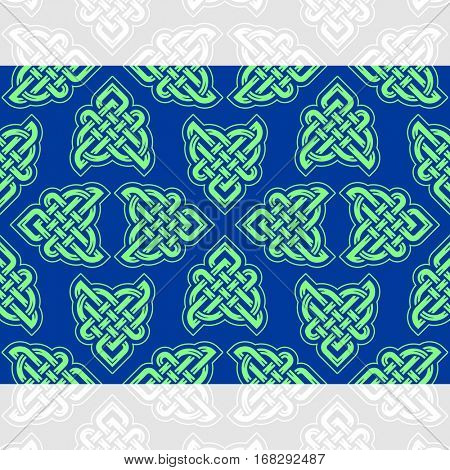 Celtic heart shape vector seamless pattern. Endless texture in blue and green color. Valentines day background for invitation, scrapbooking, cards, posters