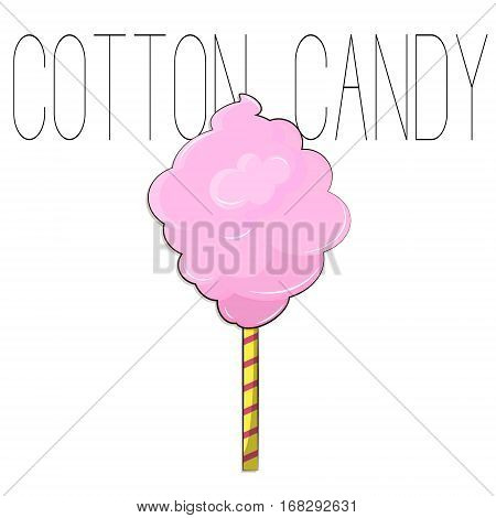 Cotton candy sweet dessert in vector. Snack food with sugar for kid. Pink fluffy cotton cloud on stick. Tasty lunch on vacation. Cute summer illustration.