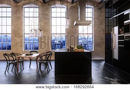Modern converted loft or studio apartment with tall arched windows, a built in fitted kitchen and set of dining table and chairs in an open plan design. 3d Rendering.