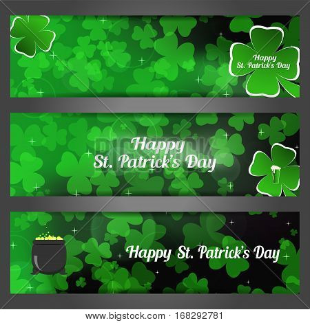 Vector Happy St. Patrick's Day bookmarks on the gradient dark green background with leaves of clover shapes and cauldron with coins.