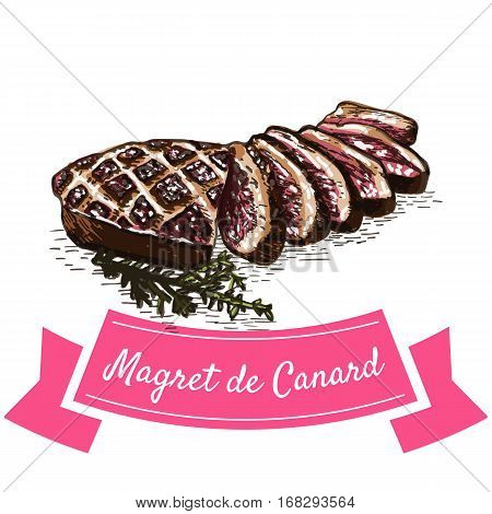 Magret de Canard colorful illustration. Vector illustration of French cuisine.
