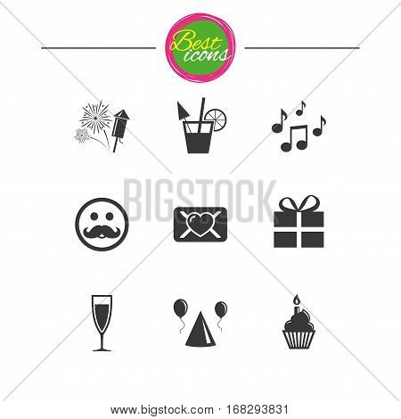 Party celebration, birthday icons. Musical notes, air balloon and champagne glass signs. Gift box, fireworks and cocktail symbols. Classic simple flat icons. Vector