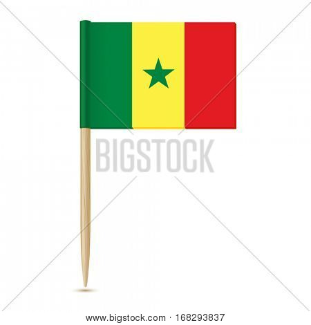 Flag of Senegal. Flag toothpick isolated on white background 10eps