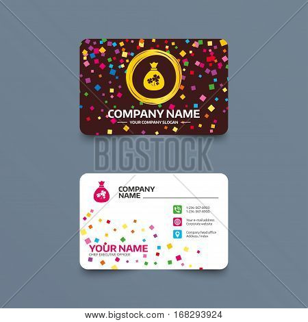Business card template with confetti pieces. Money bag with Clovers sign icon. Saint Patrick symbol. Phone, web and location icons. Visiting card  Vector