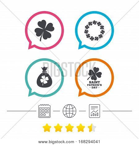 Saint Patrick day icons. Money bag with clover sign. Wreath of quatrefoil clovers. Symbol of good luck. Calendar, internet globe and report linear icons. Star vote ranking. Vector