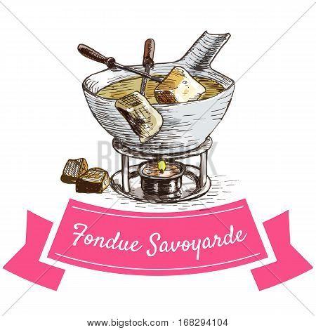 Fondue Savoyarde colorful illustration. Vector illustration of French cuisine.