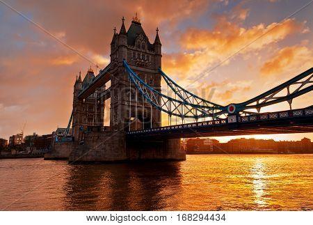 Tower Bridge against morning sunrise in London England. This photo make HDR technic.