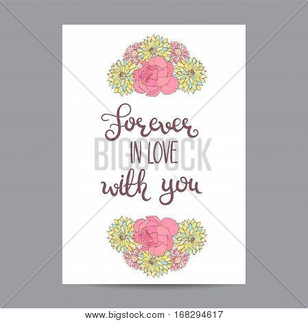 Valentines Day Card with Roses and Aster. Romantic background. Forever in love with you. Vector illustration.