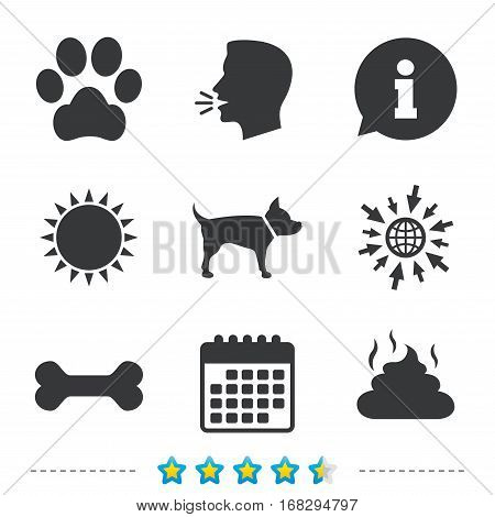 Pets icons. Dog paw and feces signs. Clean up after pets. Pets food. Information, go to web and calendar icons. Sun and loud speak symbol. Vector