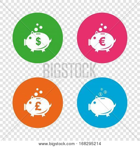 Piggy bank icons. Dollar, Euro and Pound moneybox signs. Cash coin money symbols. Round buttons on transparent background. Vector