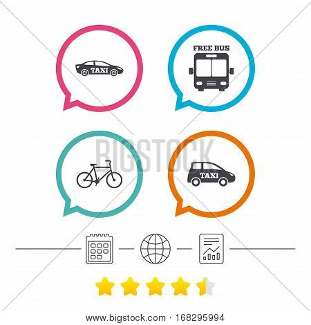 Public transport icons. Free bus, bicycle and taxi signs. Car transport symbol. Calendar, internet globe and report linear icons. Star vote ranking. Vector