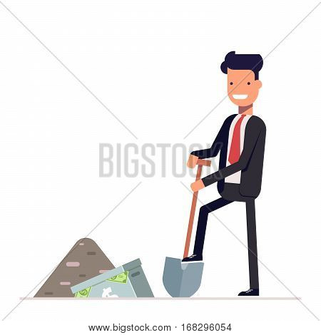 Manager or businessman digs a briefcase full of money. Business concept. Office worker character isolated on white background. Vector, illustration EPS10