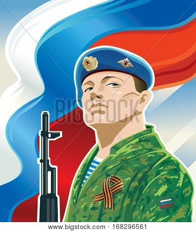 Russian paratrooper on the background of the Russian flag and kalashnikov.