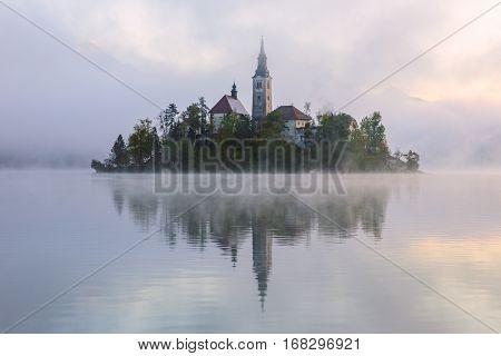 Amazing sunrise at the lake Bled in autumn Slovenia Europe