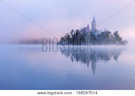 Misty Morning In Lake Bled